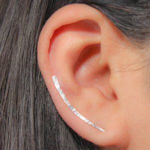 .925 Sterling Silver Pair of Ear Climber Earrings
